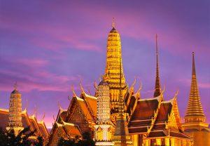 Thailand, bangkok, Grand Palace, Wat Phra Kaeo at dusk